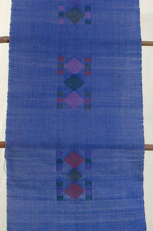 E-5 Blue hand-woven scarf with diamond + small square central pattern