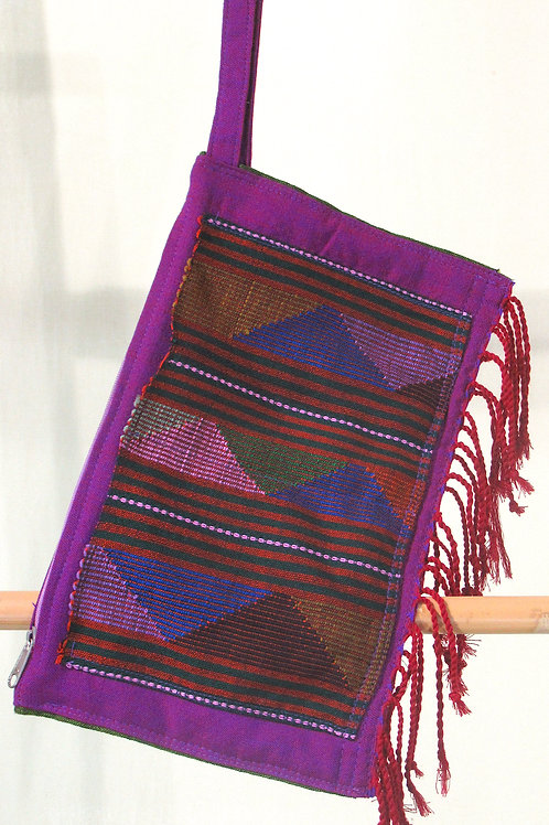 E-103 Purple clutch with geometric embroidered front andred fringes.