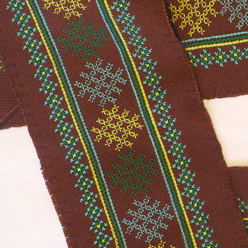 F-22 Long brown strip with inner strip design in green, yellow and turquoise