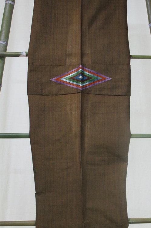 34.Khaki shrug with woven diamond motifon back