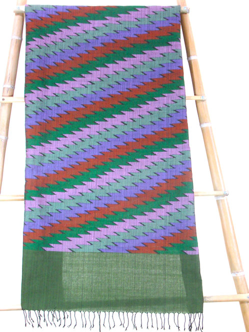 E-2Dark green fabric with mauve, brown, green and pinklightning motif