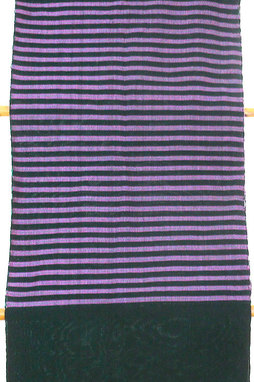 F43  Hand-woven  green scarf with pink stripes