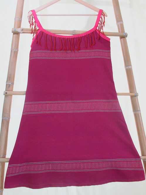 G-5  Loose-fitting pink sundress with red fringes on neckline