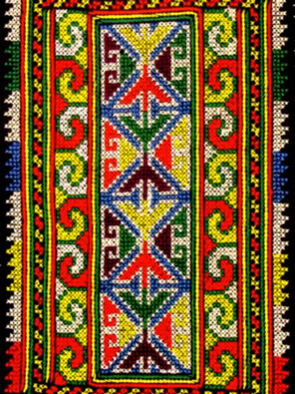 E-61 Medium-size densely embroidered oblong (200 x 50 mm)