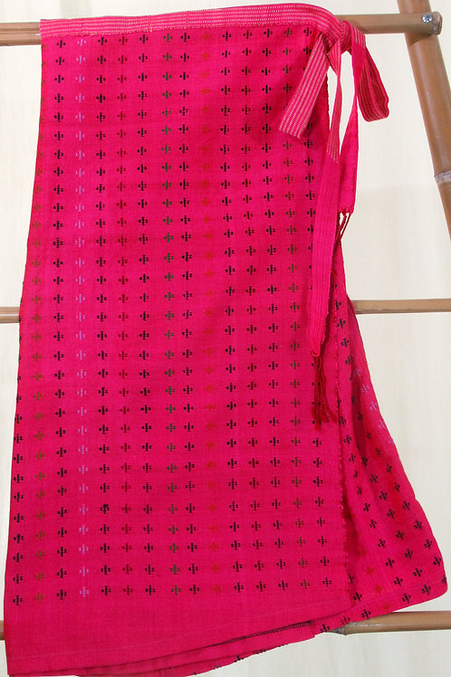 G-8  Hot-pink wrap-around skirt with small multi- coloured crosses throughout