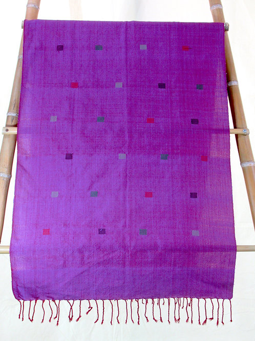 E-14  Wide runner/throw.  Violet with multicoloured small squares throughout