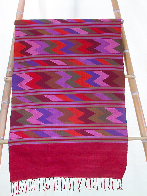 E-13 Wide runner/throw with horizontal bands of multi-coloured zig-zag  motif