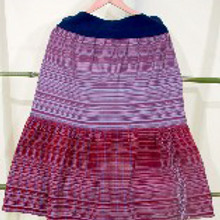 D-75 Hand-woven skirt made from two differentscarves