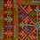Thumbnail: F-12 Brown embroidery with central square in turquoise,pink and green patterns