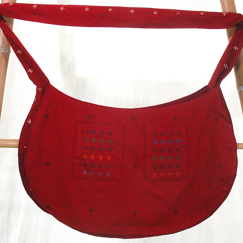 G-2  Large, deep red, hand-woven, fully-lined tote bag