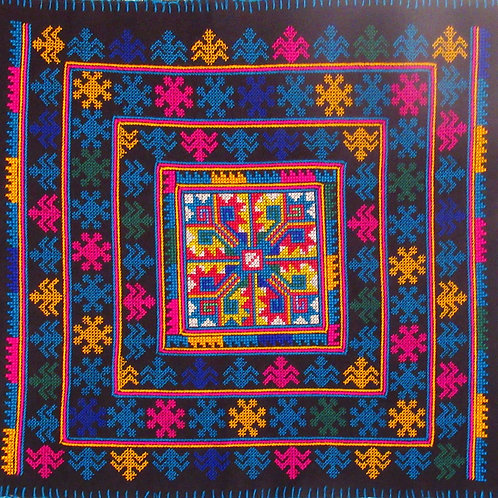 C-1 Large embroidered square with symbolic traditional Lao patterns