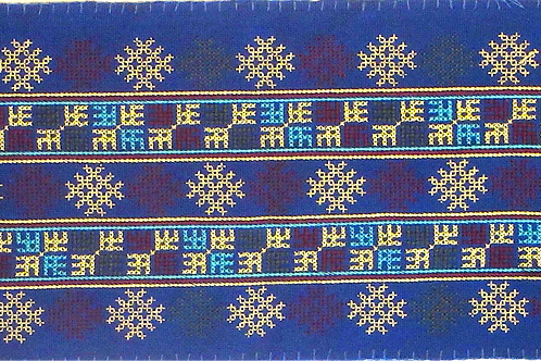 F-24 Royal Blue oblong. Inner rectangle has light blue, yellow and maroon motifs