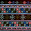 Thumbnail: F-9 Black oblong with dense embroidered central panel light-blue & pink motifs