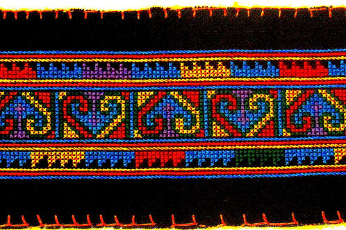 E-51  Long densely embroidered black oblong (100 x 520  mm)