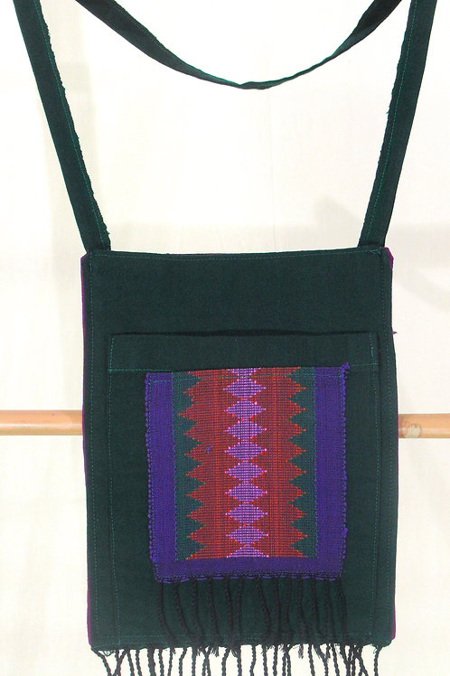 E-77 Medium hand-woven Forest-Green shoulder bag