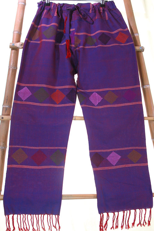 G-7 Purple  cotton pants with diamond-patterned stripes and red friinges