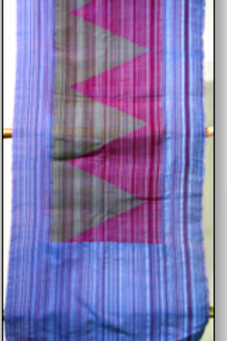 D-33  Thin ice-blue and maroon hand-woven scarf triangular pattern