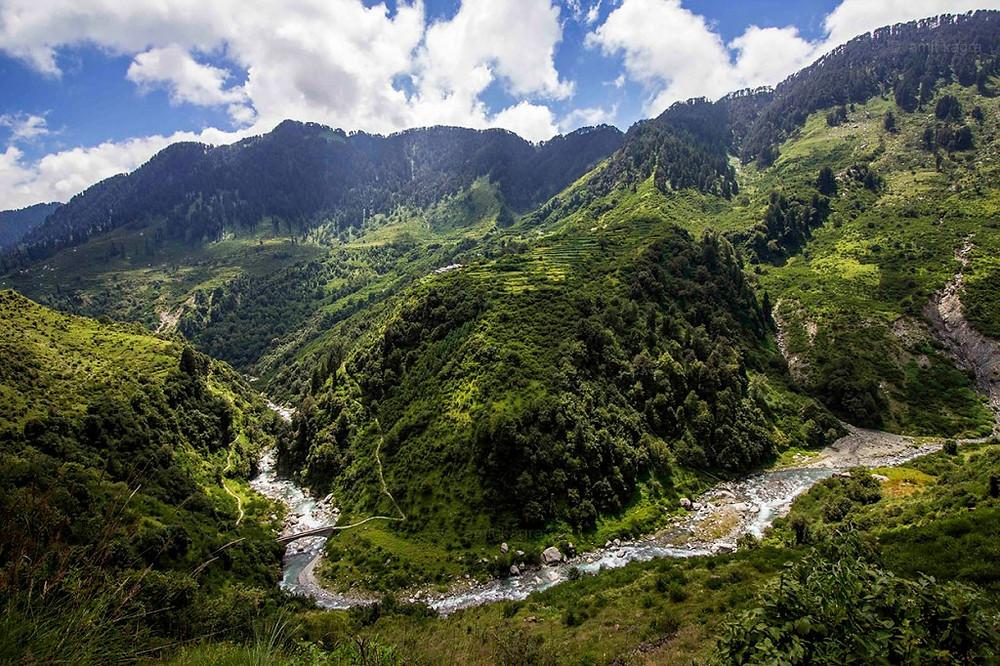 river uhl in barot valley in himachal pradesh