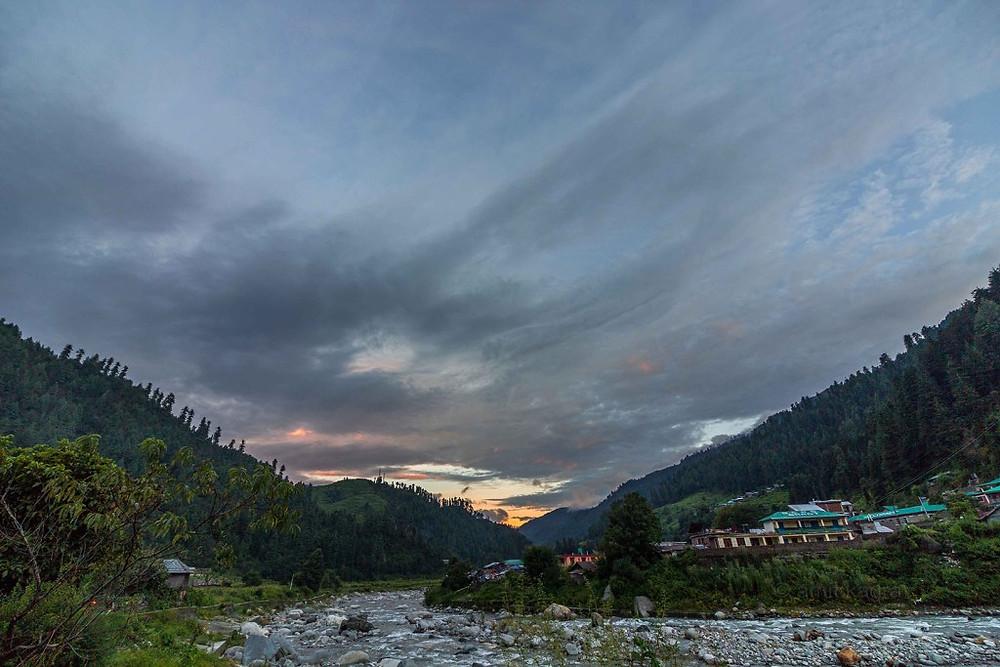 sunset in barot valley in himachal pradesh