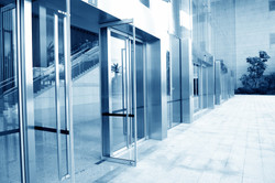 Commercial building hurricane doors