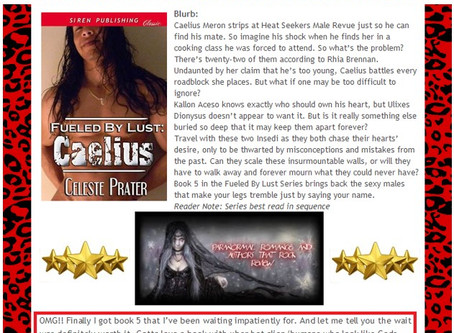 5 STAR RAVE REVIEW for CAELIUS / PARANORMAL ROMANCE AND AUTHORS THAT ROCK