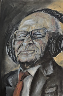 Listen to music - old man portrait by Lu