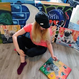 Luna Smith in her art studio