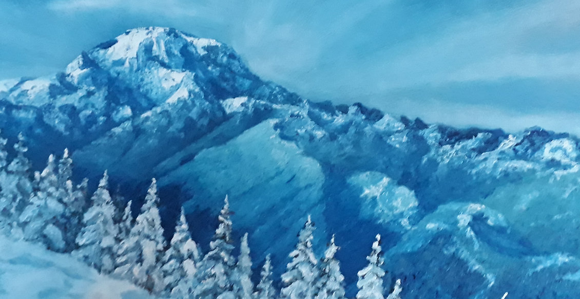 This stunning painting shows Mount Rainier covered in deep snow in Washington State in the USA. There is a perfect spot for skiing and admiring breathtaking views. Added blue colour in the painting represents the mood of this magical place: dangerous, mysterious, gorgeous, frosty and fresh. The perspective in this artwork is incredible, the unique sky adds additional deepness to this incredible artwork.