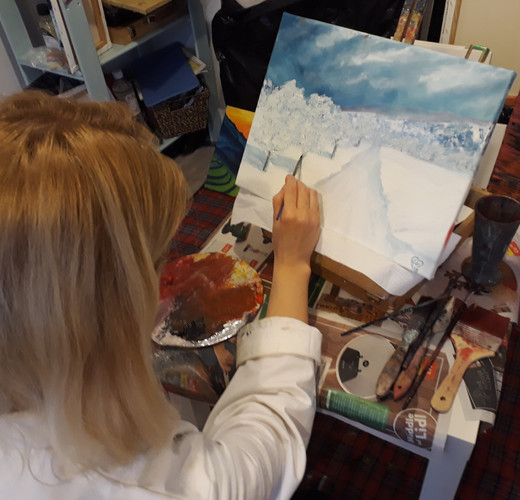 Luna Smith in art studio. Work in progress.