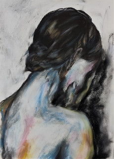 Women back hair drawing in pastels by Lu