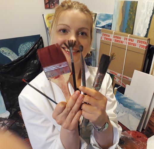Luna Smith in her art studio.