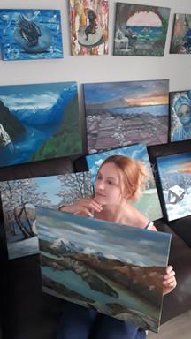 Luna Smith in her art studio, Scotland - the best art in the world