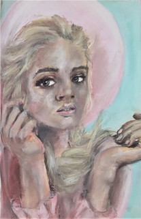 Girl in the pink hat - portrait in soft pastels by Luna Smith