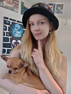 Luna Smith with Biscuit - a baby chihuahua