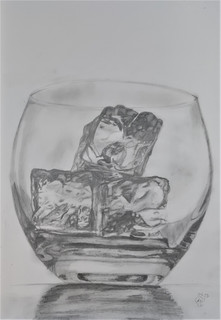 Glass of ice sketch by Luna Smith