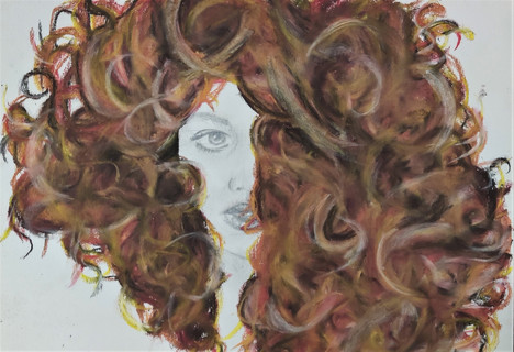 Ginger curly hair drawing in pastels