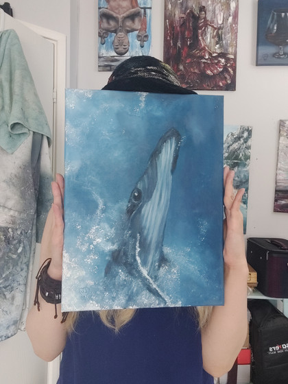 Blue whale - oil painting by Luna