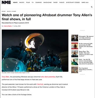 Il Magazine internazionale NME recensisce l'ultimo concerto realizzato da Tony Allen prima della sua scomparsa, al Lumiere.