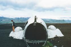 Hanging in plane wreckage
