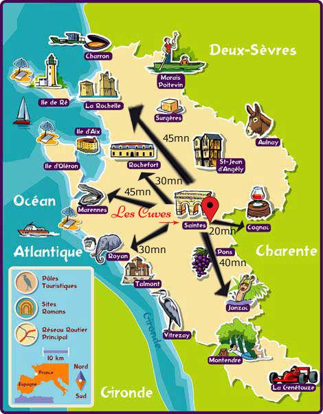 Carte touristique de charente maritime,
