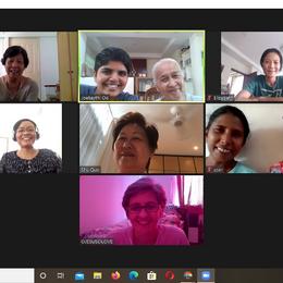 DMM (District of Myanmar Mission) online meeting 2020 : Grace, Josephine & Teresia, Elizabeth, Martina, Shu Quo, Brigid & Rosalind, and Jacinta.