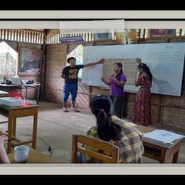 PSIE (Pyinya Sanyae Institute of Education) teachers involved in peer teaching and professional development.