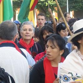 Sr Priscilla with some South America migrants at the Bergamo Diocesan Centre.