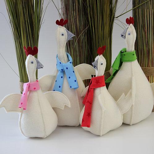 Huhn mit Schal - Anleitung inkl. Schnittschema