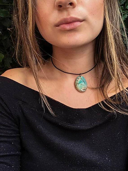 Blue Abalone Leather Choker