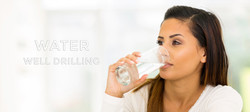 young woman drinking water- with text