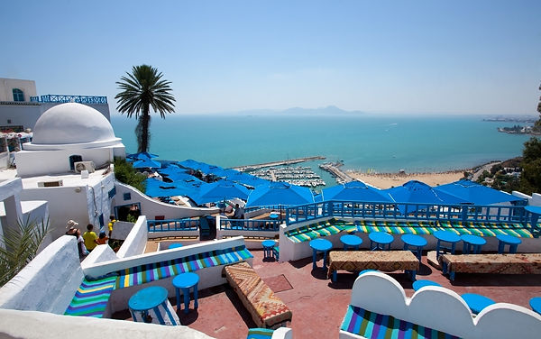 Cafe with beautiful view on Sidi Bou Sai