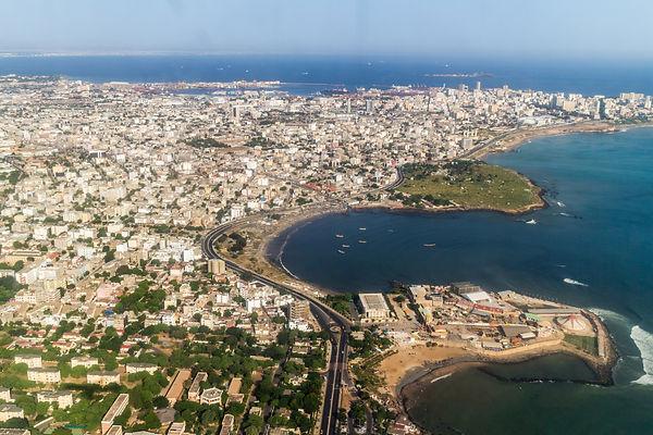 Aerial view of the city of Dakar, Senega