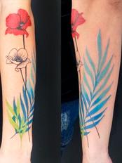 Tatuagem colorida papoulas com ramos no