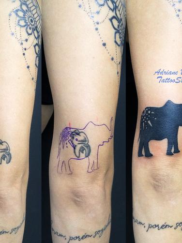 Tatuagem cobertura no braço feminino com